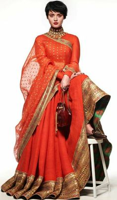 Lets make our dress and yourself special for sometime, full flair orange lehenga with heavy gotta work on lehenga. Indian Bridal Outfits, Indian Designer Outfits, Indian Dresses, Designer Dresses, Wedding Outfits, Wedding Wear, Pakistani Outfits, Wedding Poses, Bridal Dresses
