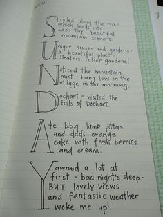 Days of the week journal entry
