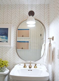 Farmhouse Wall Paper Vintage Bath New Ideas Bathroom Renos, Small Bathroom, Bathroom Ideas, Oval Bathroom Mirror, Wall Paper Bathroom, Half Bathrooms, White Bathrooms, Luxury Bathrooms, Oval Mirror