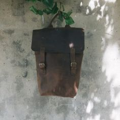 BROWN LEATHER BACKPACK on buckles / Handcrafted simple