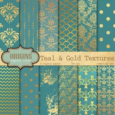 Aqua Glam Digital Paper - Aqua Foil Glitter Backgrounds, Digital Scrapbooking Paper, Fashion aqua glitter, textures, commercial use Teal and Gold Foil Textures 12 Pack by OriginsDigitalCurio Gold Bedroom, Glitter Background, Gold Texture, Digital Scrapbooking, Digital Papers, Color Pallets, My New Room, Colour Schemes, Scrapbook Paper