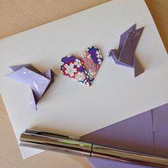 Colombes en violet - Purple doves Commande pour une carte de félicitations pour…