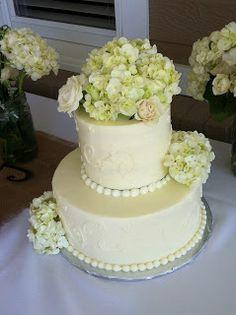 green/white hydrangea wedding cake flowers