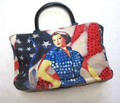 40s Girl Flag Purse Vintage Tote Handbag by sweetie2sweetie, $12.99