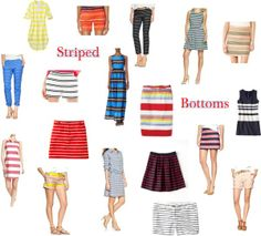 Striped shorts, dress, and skirts