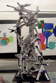 Jean DuBuffet 3D paper sculpture  USE PAPER TOWEL ROLLS INSTEAD AND PAINT OR MODGE POGE MAGAZINE PICS