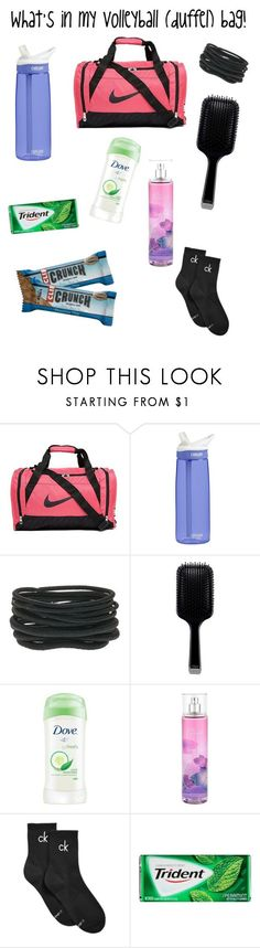 """""""What's in my volleyball bag! I have more but it's pretty self explanatory (shirts, shoes)"""" by preppyheaven ❤ liked on Polyvore featuring NIKE, CamelBak, GHD, Dove, Calvin Klein, cute, trending and Volleyball"""