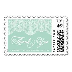 Mint Brocade Lace Wedding Thank You Sticker Stamps