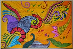 """Large Henna-style painting 24x36 on canvas. """"Rolling Colors"""" (sold) © Bala Thiagarajan, 2012"""
