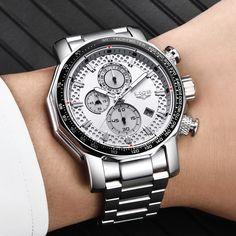 LIGE New Sport Chronograph Mens Watches Top Brand Luxury Full Steel Quartz Clock Waterproof Big Dial Watch Men - Negamy Men's Watches, Watches Online, Sport Watches, Cool Watches, Unusual Watches, Fashion Watches, Unique Mens Watches, Wrist Watches, Breitling
