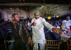 Billionaire businessman Femi Otedola is pictured doing the 'Shaku Shaku' with Lil Kesh at the wedding dinner of Fatima Dangote and Jamil Abubakar in Lagos yesterday. More photos below. Tamar Braxton, Spelling Bee, Lazy Cat, Nigeria News, Latest Celebrity News, Wedding Dinner, Global News, Billionaire, Jokes