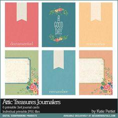 Attic Treasures 3x4 Journal cards for pocket scrapbooking project life - Digital Scrapbooking Elements DesignerDigitals