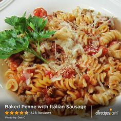 Baked Penne with Italian Sausage | A simple baked pasta recipe with sausage, tomato sauce, and mozzarella cheese.