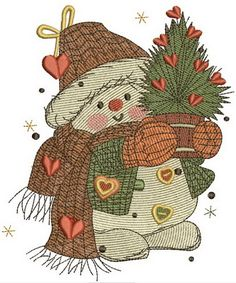 Snowman in love embroidery design. Machine embroidery design. www.embroideres.com