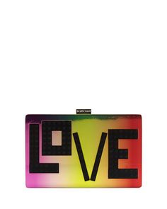 LES PETITS JOUEURS Andy Iridescent Love Clutch Bag. #lespetitsjoueurs #bags #shoulder bags #clutch #lining #suede #hand bags #