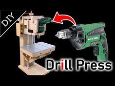 E se falando em madeira.: Video: Making a 6 in 1 Drill Press( Drill Guide ) Part 1 Small Woodworking Projects, Woodworking Lathe, Wood Projects, Homemade Drill Press, Homemade Tools, U Tube, Tube Video, Drill Guide, Drilling Machine