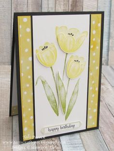 Tranquil Tulips is one of our new Hostess stamp sets. It is truly gorgeous! I decided to use Daffodil Delight as the main colour and paired it with Old Olive and Basic Black. Stampin' Up! have desi Making Greeting Cards, Greeting Cards Handmade, Bday Cards, Stamping Up Cards, Handmade Birthday Cards, Pretty Cards, Watercolor Cards, Flower Cards, Scrapbook Cards