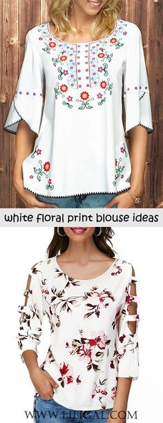 A cute white floral print blouse with jeans must be a good choice for daily outfit style, half sleeve and cutout detail will be perfect for spring and summer. Diy Summer Clothes, Diy Clothes, Clothes For Women, Cool Outfits, Fashion Outfits, Womens Fashion, Womens Trendy Tops, Shirt Embroidery, Embroidery Patterns