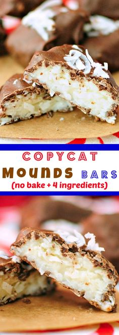 4 Ingredient Coconut Cream Bars - an easy no-bake dessert that tastes like a mounds bar!!
