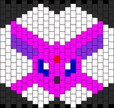 Espeon Pokemon Mask bead pattern Kandi Patterns, Beading Patterns Free, Peyote Patterns, Cross Stitch Patterns, Peyote Beading, Beadwork, Pokemon Masks, Kandi Mask, Pony Bead Crafts