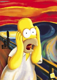 A rendition of The Scream featuring Homer Simpson. The Scream is the popular name given to a series of four compositions by the Expressionist artist Edvard Munch. Homer Simpson, Simpson Art, Edvard Munch, The Simpsons, Le Cri Munch, Scream Parody, Simpson Tumblr, Scary Faces, Art Plastique
