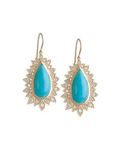 Diamond Edged Turquoise Drop Earrings by Jamie Wolf at Neiman Marcus.