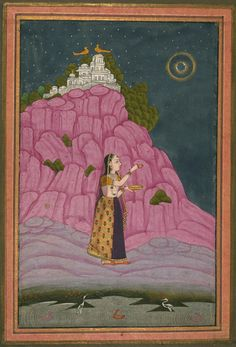 Unidentified Ragini, A Lady Performing a Ritual at Night with a Full Moon - Miniature Painting, Deccan school, Ragamala series, 19th Century. Digital Walters.