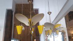 Pareja lámparas techo amarillas Italia años 50 - Antiguedades - Madrid - La Europea