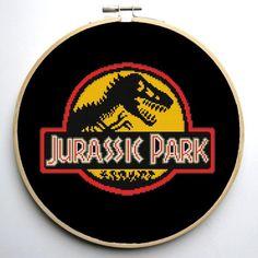 (10) Name: 'Embroidery : Jurassic Park Logo Cross Stitch Pattern