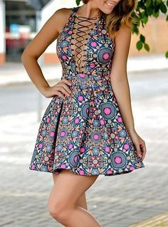 Multicolored Polka Dots Mini Skater Dress Laced Feature Sleeveles