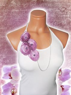 Lavender lilac fabric necklace beaded by emofoFashionDesing, $25.00