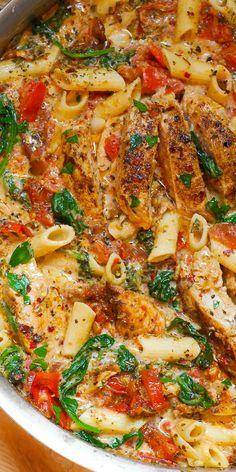 Creamy Chicken Pasta, Creamy Pasta Recipes, Vegetarian Pasta Recipes, Creamy Tomato Sauce, Pasta Dinner Recipes, Chicken Pasta Recipes, Healthy Chicken Recipes, Shrimp Pasta, Chicken Bacon Pasta