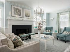 Living Room Inspiration Blue Living Room Inspiration - love these shades of blue and the light, airy feel of the room.Blue Living Room Inspiration - love these shades of blue and the light, airy feel of the room. Coastal Living Rooms, Living Room Grey, Formal Living Rooms, Home Living Room, Living Room Designs, Living Room Decor Light Blue Walls, Duck Egg Blue Living Room, Duck Egg Blue Lounge, Modern Living