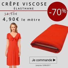** 7 Jours - 1 Prix - 1 Produit *** Profitez-de notre promo aujourd'hui à -70% sur notre Tissu Crêpe Viscose élasthane, à 4,50€ le mètre au lieu de 16,50€!