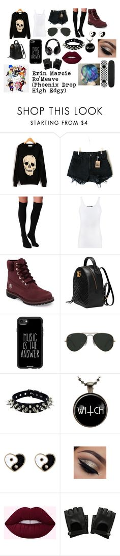 """Erin Marcie Ro'Meave (Phoenix Drop High Edgy)"" by deathlyhallows12 on Polyvore featuring Levi's, Plush, Vince, Timberland, Gucci, Casetify, Ray-Ban, Accessorize, Hot Topic and Beats by Dr. Dre"