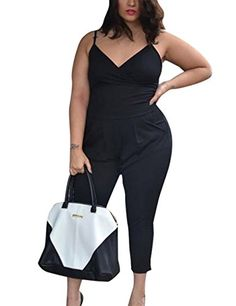 a08689a3bc4 AMZ PLUS Womens Sexy Solid Plus Size Vneck Sleeveless Jumpsuits Black 2XL   gt  gt