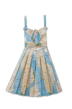 Around the world in a dress! We're totally smitten with these dresses folded out of vintage paper maps.