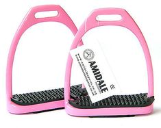 Advertisement(eBay) ALUMINUM LIGHT WEIGHT STIRRUPS HORSE RIDING WITH TREADS PINK COLORS 3 SIZES