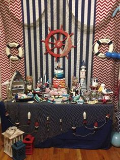 Nautical Birthday Party - so many great ideas here for a Sailor Party! Pirate Birthday, Boy Birthday, Birthday Ideas, Baby Shower Themes, Baby Boy Shower, Pirate Baby Shower Ideas, First Birthday Parties, First Birthdays, Sailor Party