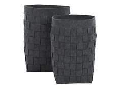 MADE Essentials Bask Set of 2 Felt Woven Laundry Basket, Charcoal