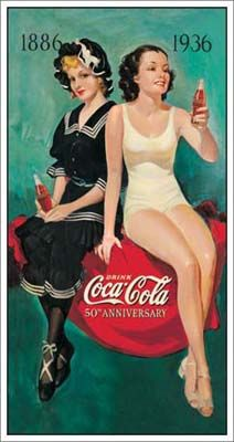 Details about Coke Tin Sign Advertising Coca-cola 50th annv bathers distressed…