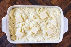 Make-Ahead Mashed Potatoes - creamy, buttery mashed potatoes that can be made up to three days ahead and heated before serving to save time. Make Ahead Mashed Potatoes, Potato Casserole, Vegetarian Cheese, Stick Of Butter, Coconut Flakes, Feta, Good Food, Spices, Easy Meals