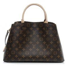 This is an authentic LOUIS VUITTON Monogram Montaigne MM.   This chic tote is crafted of Louis Vuitton monogram coated toile canvas.