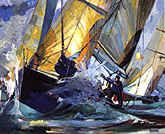 Lay Line....   Arnold Art featured artist Willard Bond: Racing sailing yacht art