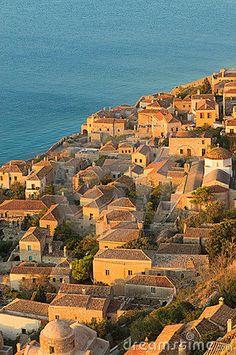 Medieval walled town of Monemvasia, Greece by Javarman, via Dreamstime