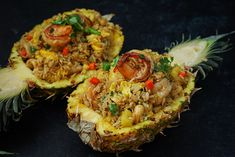 I'm super excited and hungry for this pineapple fried rice recipe. It is definitely one of the best fried rice recipes I created and OH-SO-DELICIOUS!! Rice Recipes, Cooking Recipes, Asian Recipes, Asian Foods, Thai Recipes, Seafood Recipes, Delicious Recipes, Pineapple Bowl, Recipes