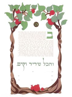 The Pomegranate Ketubah. Inspired by the couples love for Israel, this Art Nouveau frame pomegranate tree ketubah contains  Hebrew calligraphy. #ketubah #jewishwedding #hebrewcalligraphy #treeketubah #jewishhertiage #hebrewcalligraphy #jewish #wedding #artnouveau #artdeco #hebrew #jewishcustom #pomegranate #israel #pomegranateketubah #sevenspecies #customketubah