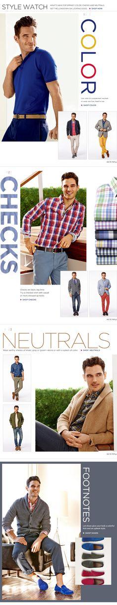 Mens Apparel - Color, Checks, and Neutrals Gents Fashion, Fashion Moda, Gq Style, Cool Style, Casual Wear, Men Casual, Masculine Style, Closet Essentials, Dapper Gentleman