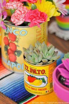 Succulents and food cans! Cinco De Mayo Mexican Fiesta by Kara Allen | Kara's Party Ideas | http://KarasPartyIdeas.com favors, decor, DIY ideas, recipes and more!