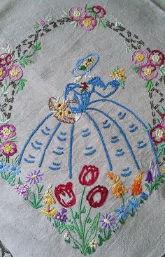 Pair of vintage embroidered crinoline lady cushion by Marcialois